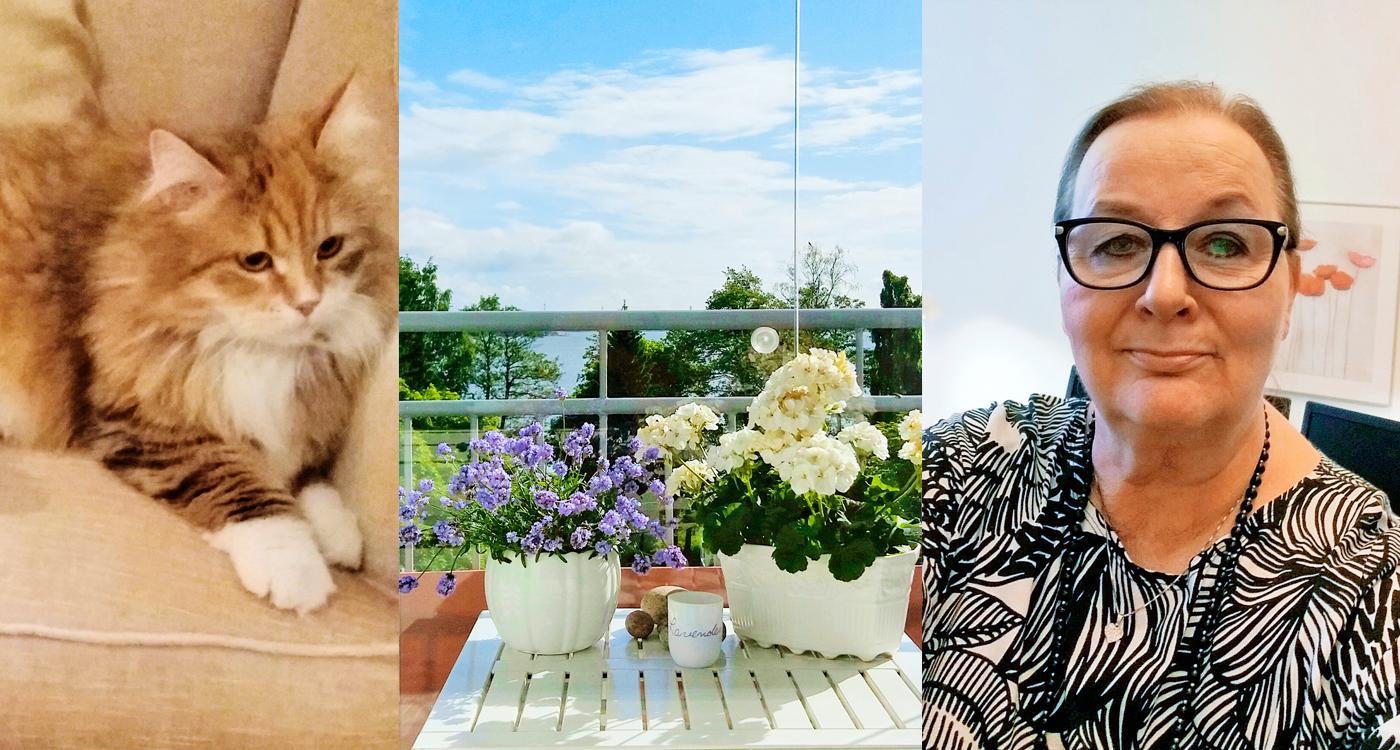 Viveca Warne viihtyy naapureiden seurassa Lumo-talossa Lauttasaaressa