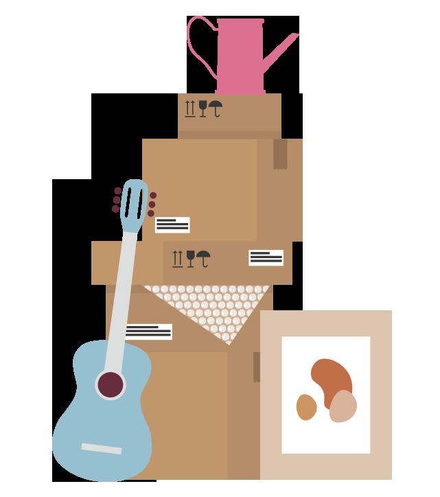 Pino muuttolaatioita, joihin nojaa kitara ja taulu. Laatikkopinon päällä kastelukannu.